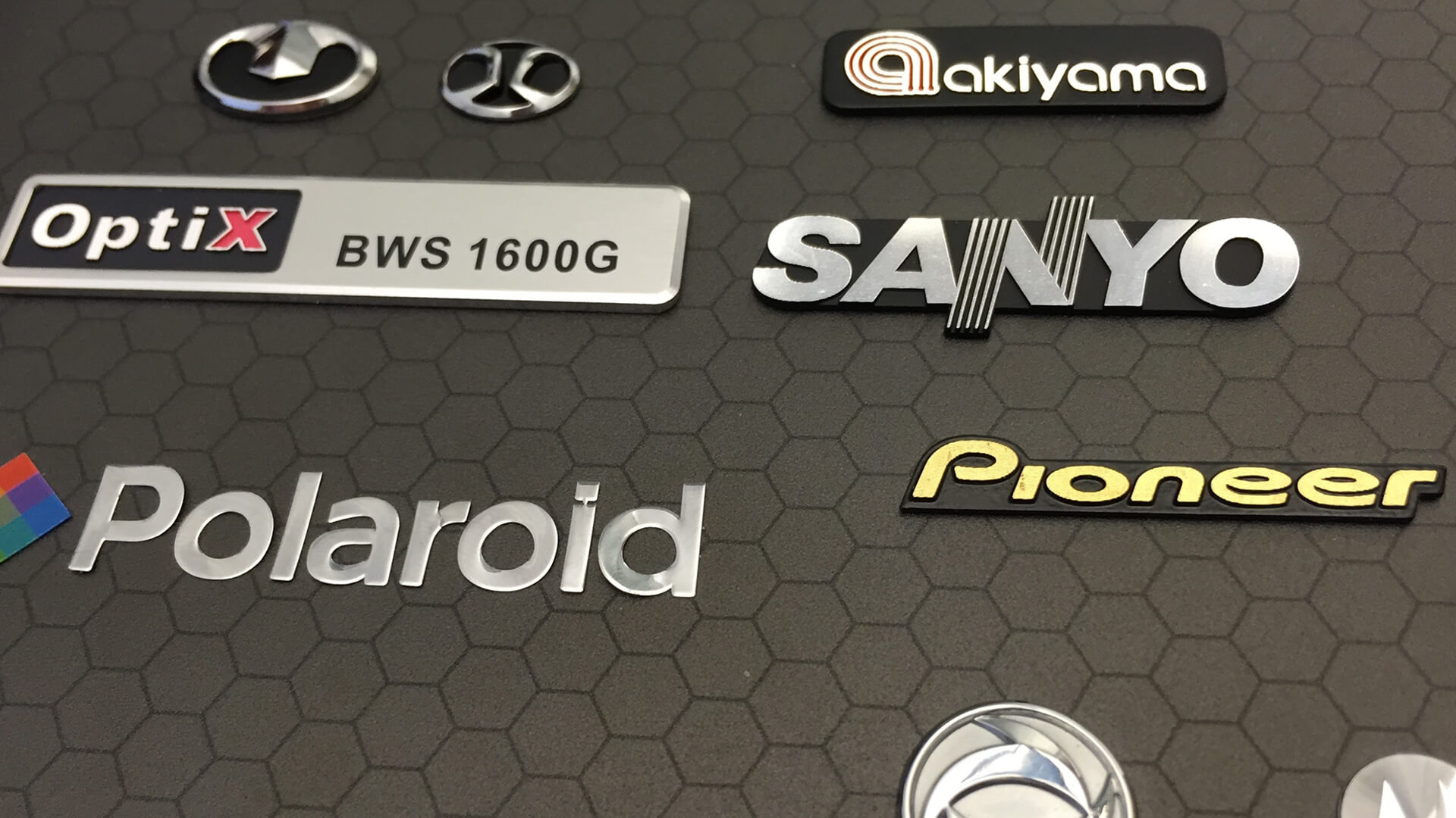 Collection of Electroformed Plastic & Aluminium Logos