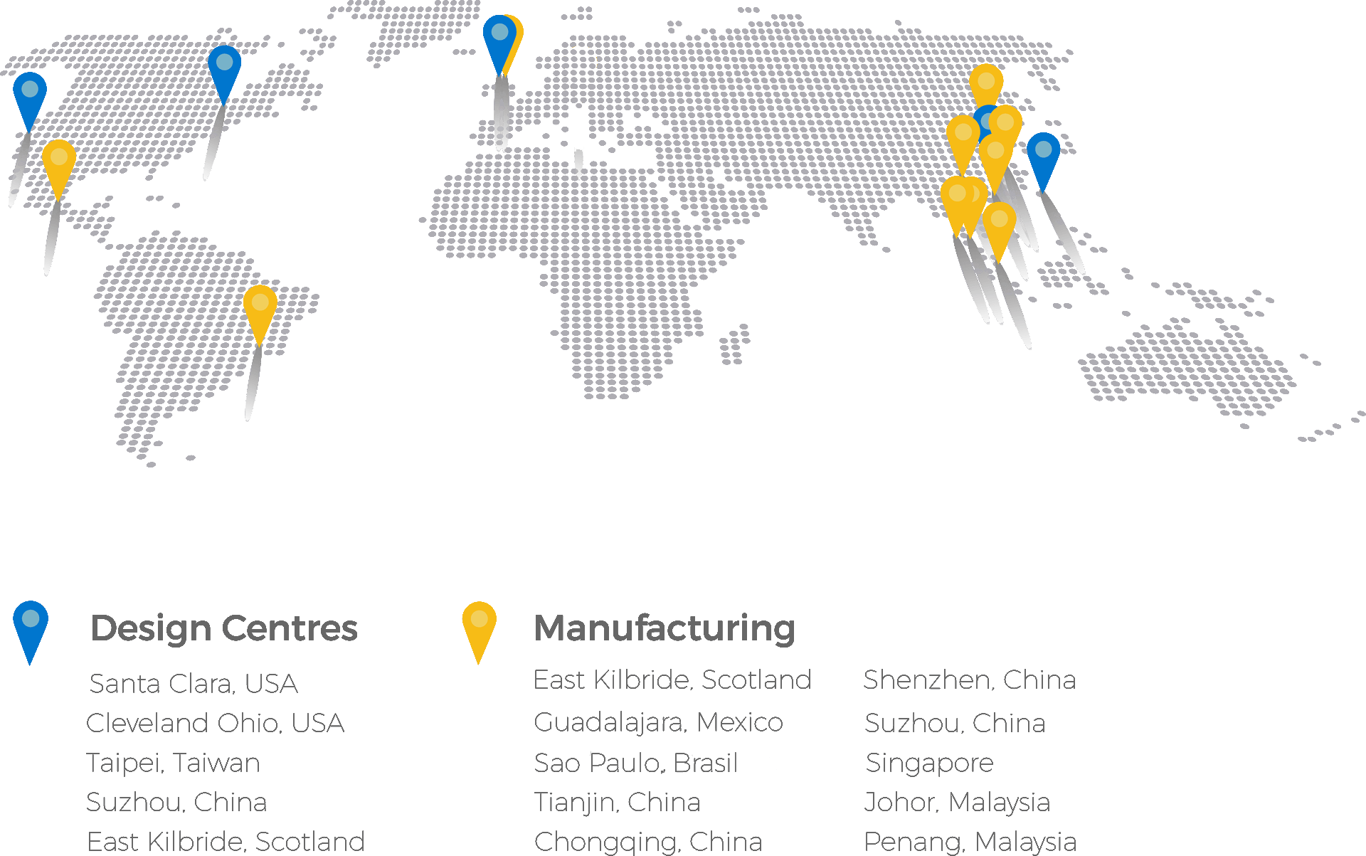 Our Global Footprint of Design Centres and Manufacturing Sites